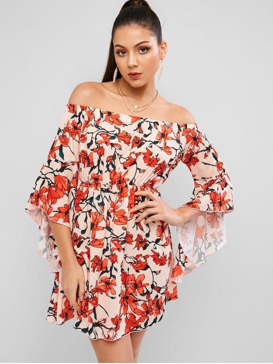 womens ZAFUL Off Shoulder Flower Flare Sleeve Tunic Dress - DEEP PEACH M