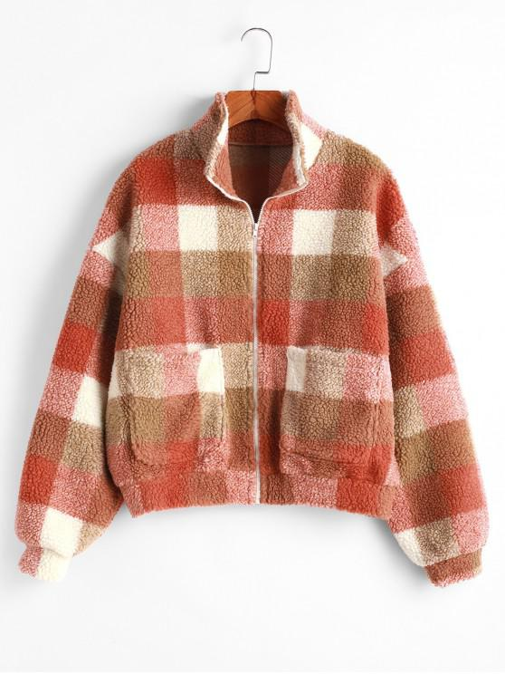 outfit ZAFUL Plaid Zipper Pocket Fluffy Drop Shoulder Coat - MULTI-A XL