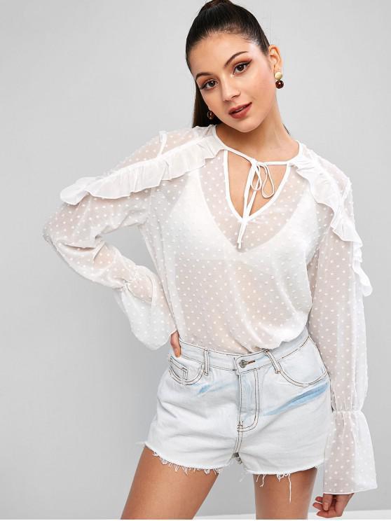 shops ZAFUL Tie Collar Keyhole Swiss Dots Ruffles Blouse - WHITE S