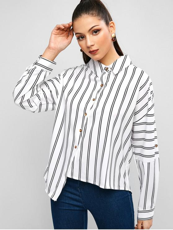 affordable Asymmetrical Striped Drop Shoulder Rolled Sleeve Shirt - WHITE L