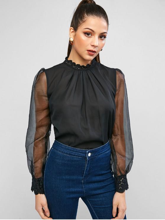 紗布透視模特領襯衫 - 黑色 L