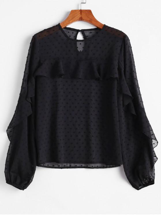 outfits ZAFUL Swiss Dot Keyhole Back Ruffle Blouse - BLACK L