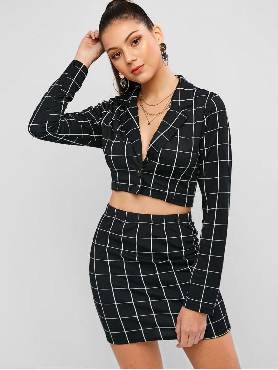best ZAFUL Cropped One Buttoned Checked Two Piece Dress - BLACK S
