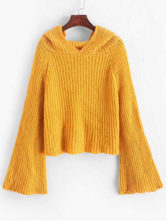 buy Plain Hooded Flare Sleeve Sweater - YELLOW ONE SIZE