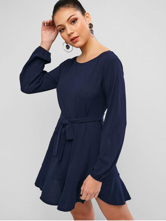 lady ZAFUL Textured Flounce Tunic Dress - DEEP BLUE S
