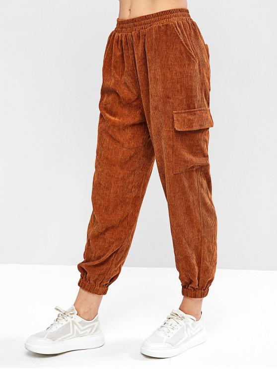 fashion ZAFUL Corduroy Mid Waisted Pocket Jogger Pants - WOOD L