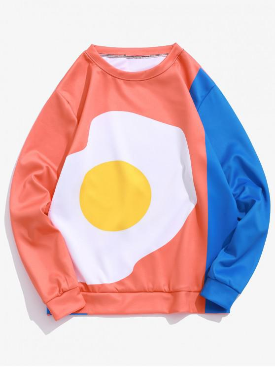 womens Fried Egg Graphic Print Color Block Sweatshirt - MANGO ORANGE L