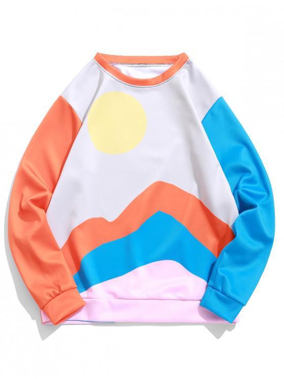 trendy Color Blocking Spliced Sun Graphic Print Sweatshirt - MULTI M
