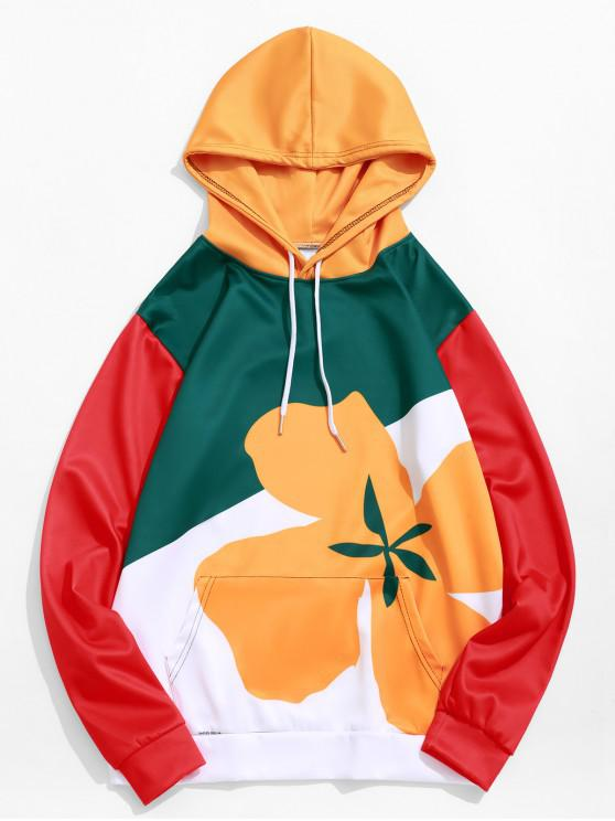 lady Colorblock Flower Print Drawstring Pullover Hoodie - BEE YELLOW XL