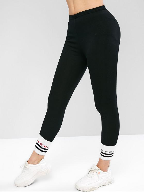 outfit High Waisted Contrast Graphic Stripes Panel Leggings - BLACK ONE SIZE