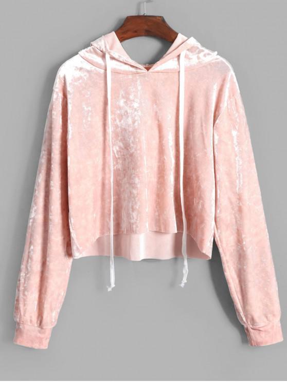 trendy ZAFUL Velvet Crop Drawstring Hoodie - PINK L