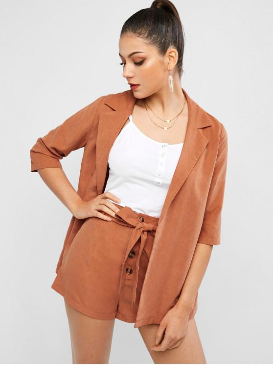 new ZAFUL Lapel Blazer and Button Fly Two Piece Shorts Set - CHOCOLATE M