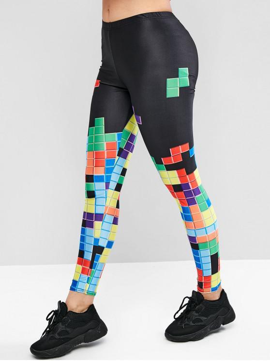 shop Pull On Magic Square Print Leggings - BLACK ONE SIZE
