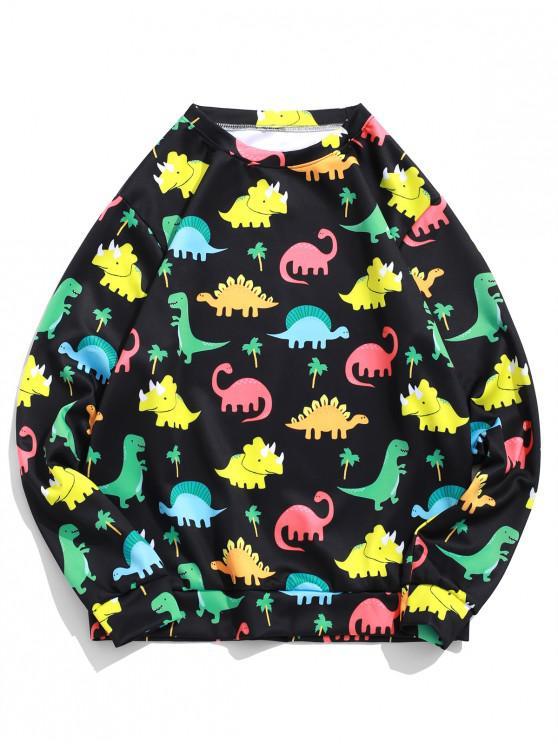affordable Cartoon Dinosaur Palm Tree Print Pullover Sweatshirt - NIGHT L
