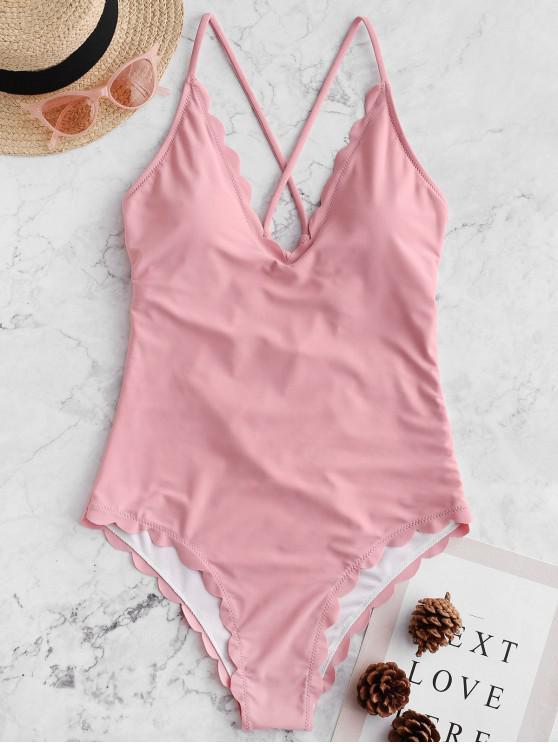 lady ZAFUL Crisscross Scalloped One-piece Swimsuit - LIGHT PINK M