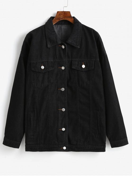 fashion Drop Shoulder Pocket Button Up Denim Coat - BLACK XL