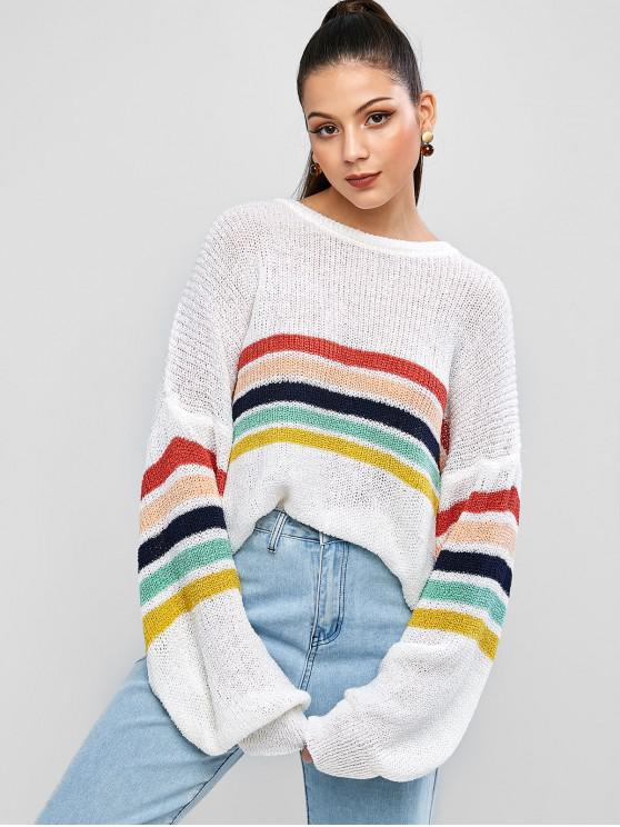 fancy ZAFUL Colorful Striped Drop Shoulder Loose Jumper Sweater - MULTI M