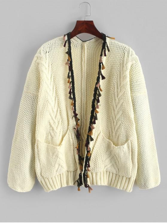 shop Pockets Open Front Tassels Cardigan - WARM WHITE ONE SIZE
