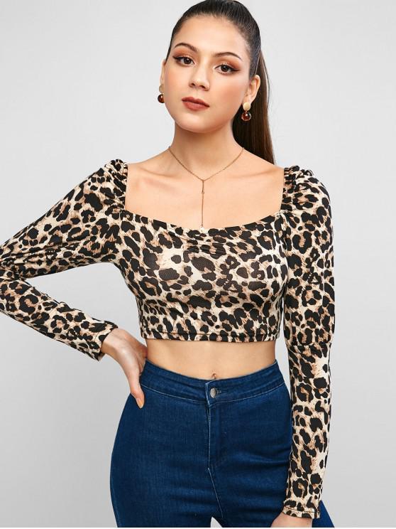 unique Leopard Animal Print Square Neck Crop Tee - LEOPARD XL