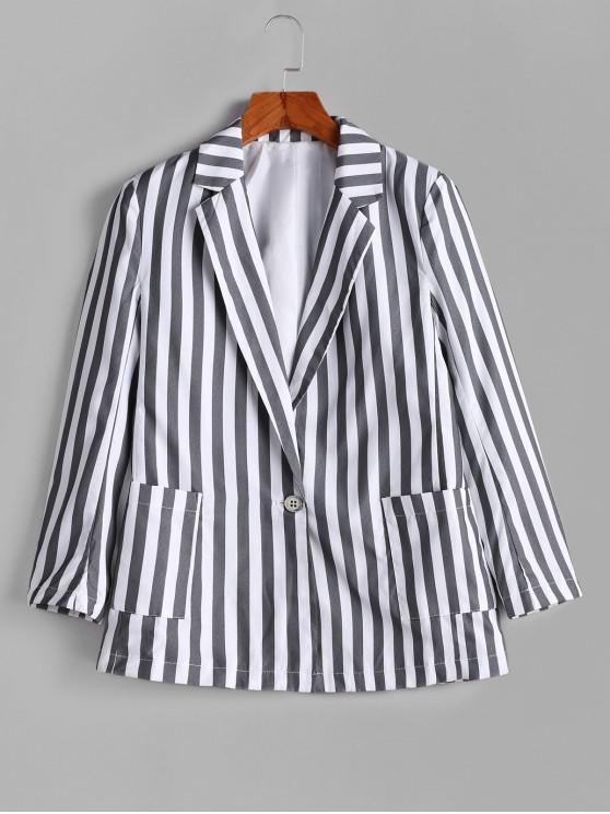 unique One Button Striped Pockets Blazer - GRAY M