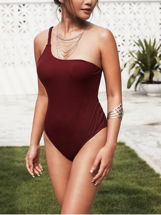 hot ZAFUL Ribbed Braided One Shoulder One-piece Swimsuit - RED WINE S