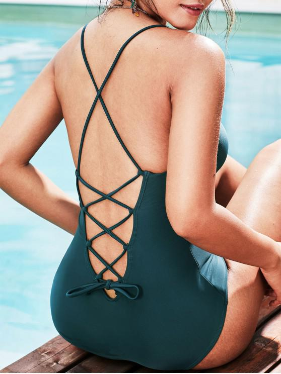 hot ZAFUL Lace Up Padded One-piece Swimsuit - PEACOCK BLUE S