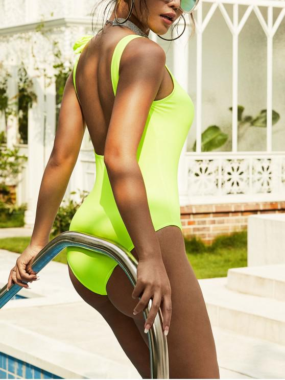 latest ZAFUL Open Back Neon Bowknot One-piece Swimsuit - GREEN YELLOW S