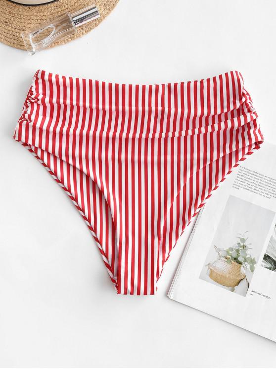 ZAFUL Vertical Striped Ruched cintura alta Bikini Bottom - Lava Vermelha L