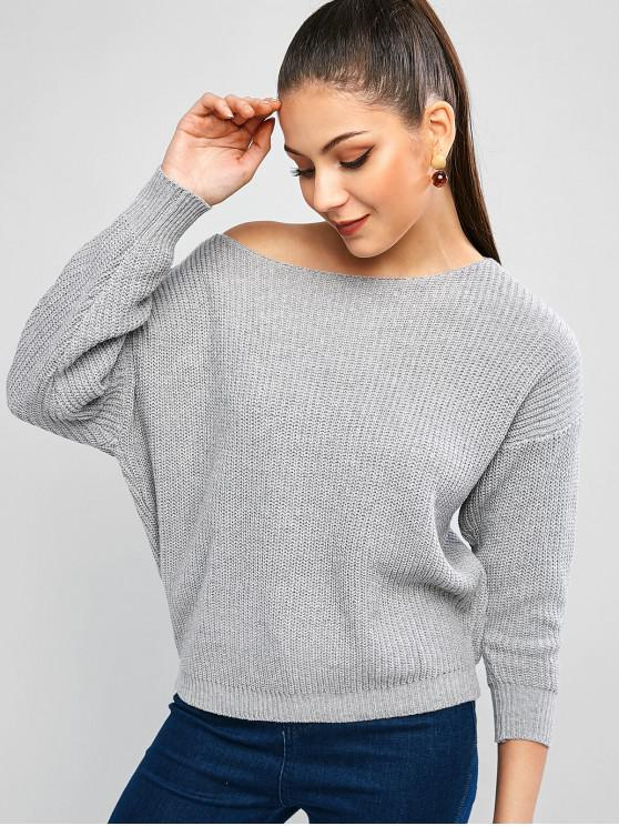 trendy Skew Collar Drop Shoulder Textured Sweater - BLUE GRAY XL