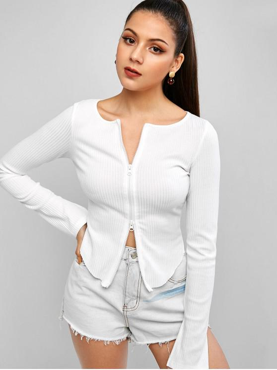 outfit Zip Up Curved Hem Ribbed Top - WHITE S