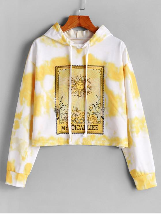 chic ZAFUL Drawstring Sun Floral Tie Dye Hoodie - BEE YELLOW M