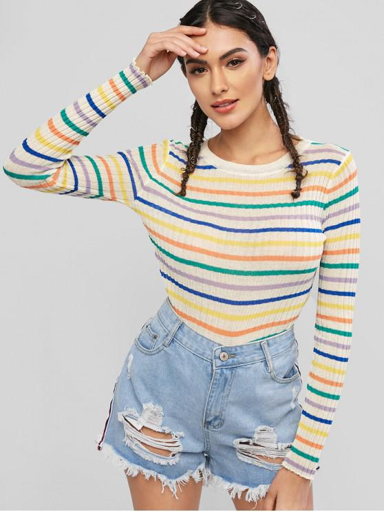 best Slim Stripes Crew Neck Sweater - MULTI-A ONE SIZE