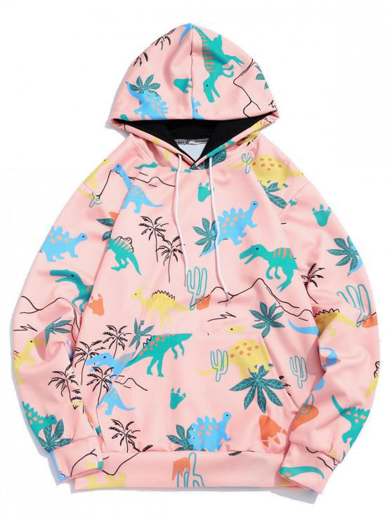 outfits Cartoon Dinosaur Plant Print Kangaroo Pocket Casual Hoodie - ORANGE PINK M