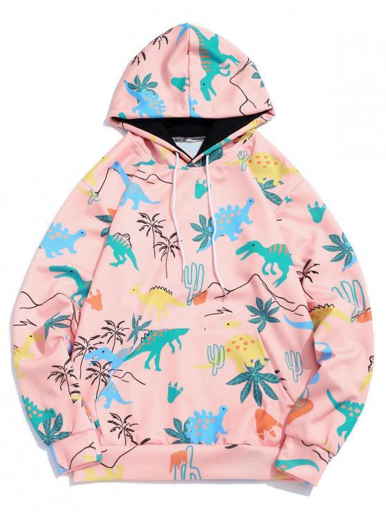 trendy Cartoon Dinosaur Plant Print Kangaroo Pocket Casual Hoodie - ORANGE PINK L