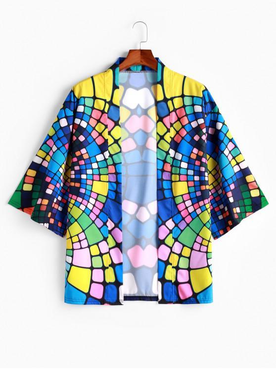 lady Colorful Geometric Print Open Front Kimono Cardigan - MULTI S