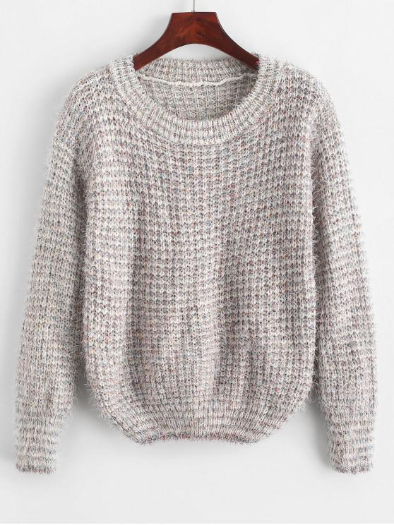 outfit Fuzzy Metallic Thread Heathered Sweater - WHITE ONE SIZE