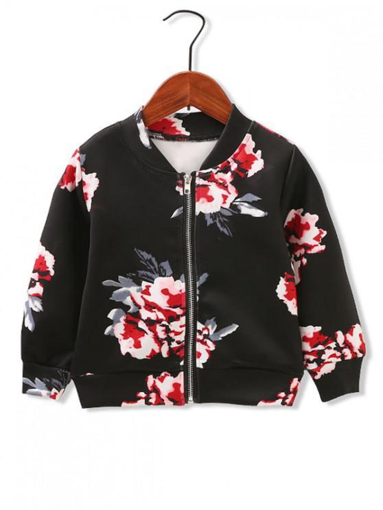 online Girls Floral Print Zip Up Jacket - BLACK 120