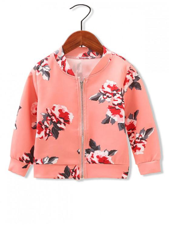outfits Girls Floral Print Zip Up Jacket - RED 110