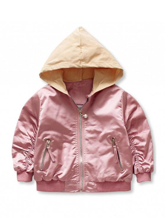 fancy Girls Elastic Sleeve Zip Up Contrast Hooded Jacket - ROSE 90