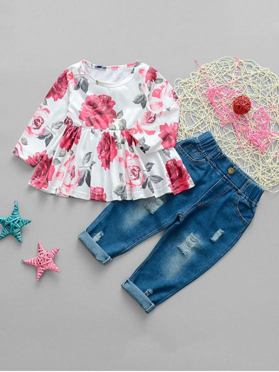 unique Girls Floral Print Top And Ripped Jeans Set - RED 110