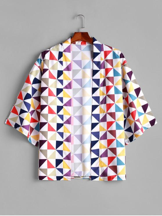 latest Color Blocking Geometric Print Open Front Kimono Cardigan - MULTI XL