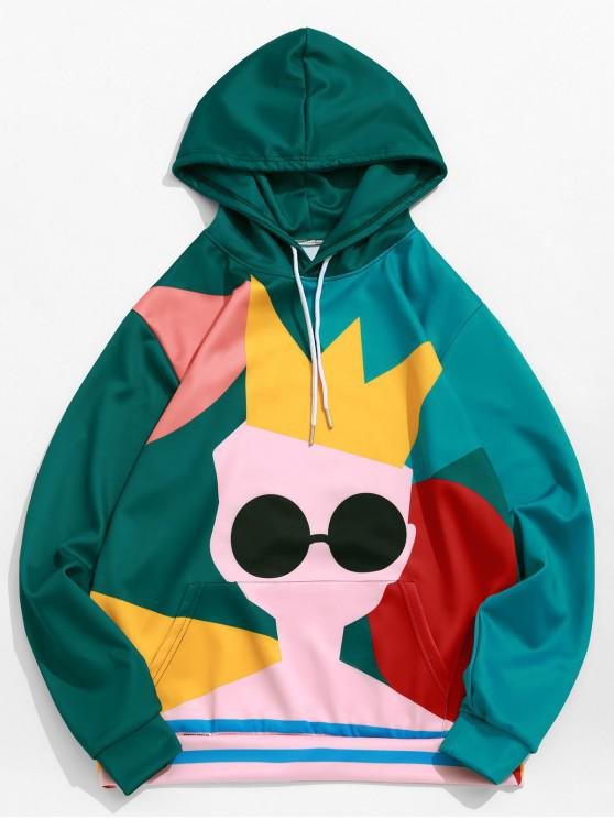 women Colorful Character with Crown Print Kangaroo Pocket Hoodie - BLUE HOSTA S