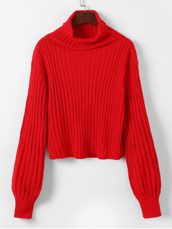 best ZAFUL Turtleneck Ribbed Crop Solid Sweater - RED ONE SIZE