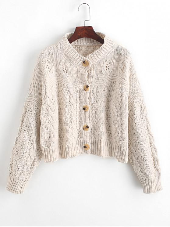 sale Loose Button Up Cable Knit Cardigan - WHITE ONE SIZE