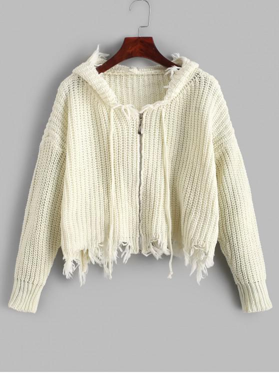 buy Hooded Zip Up Frayed Chunky Cardigan - WHITE ONE SIZE