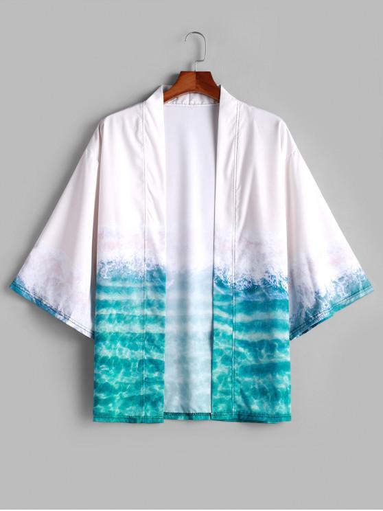best Seaside Beach Print Open Front Kimono Cardigan - LIGHT SEA GREEN L