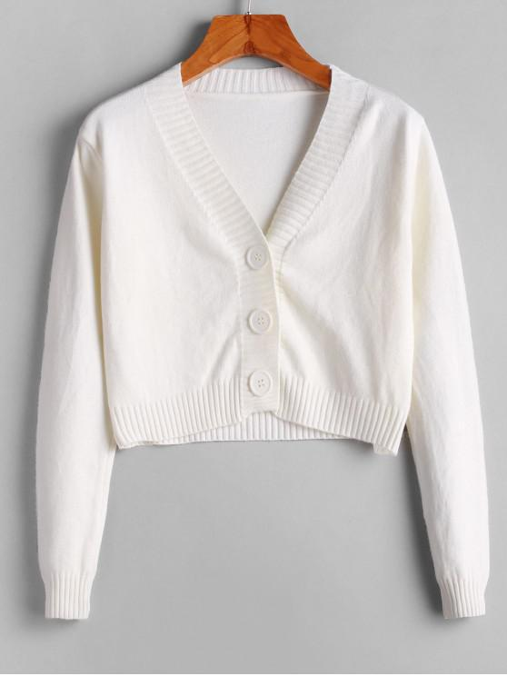 affordable V Neck Button Up Cropped Cardigan - WHITE ONE SIZE