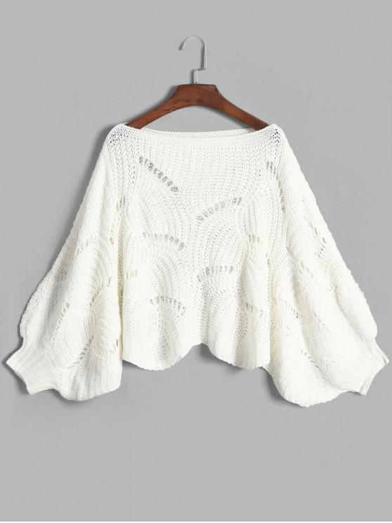 shops Scalloped Hem Pointelle Knit Lantern Sleeve Pullover Sweater - WHITE ONE SIZE