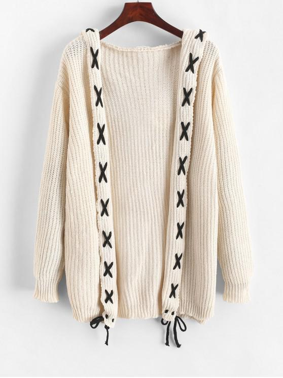 fashion Hooded Open Front Lace Up Cardigan - WARM WHITE ONE SIZE