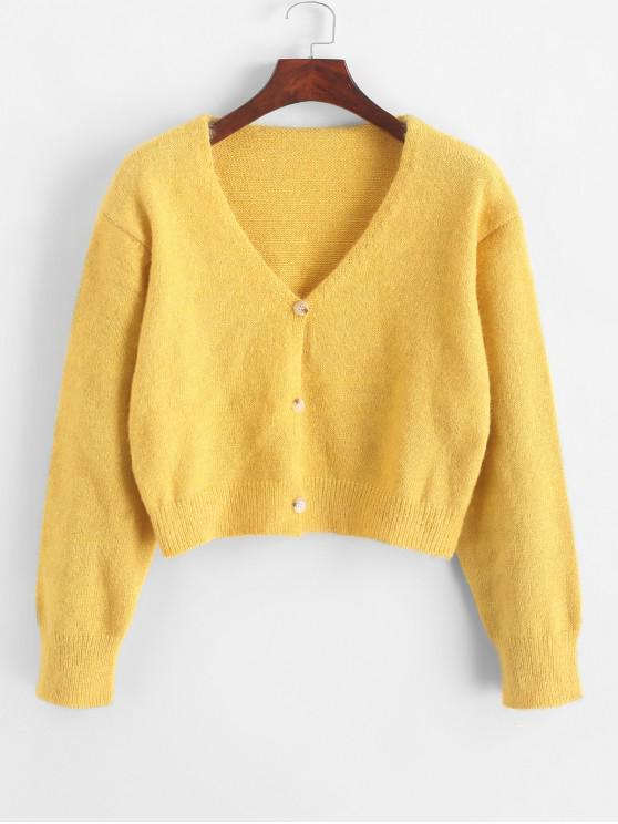 unique Fuzzy Button Up V Neck Cropped Cardigan - YELLOW ONE SIZE